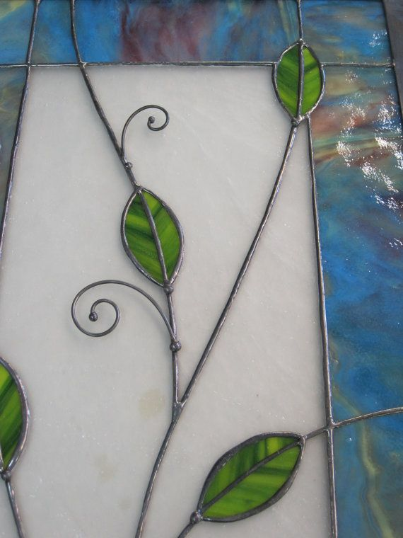 Happy Curly Leafy Stained Glass Panel by RenaissanceGlass on Etsy