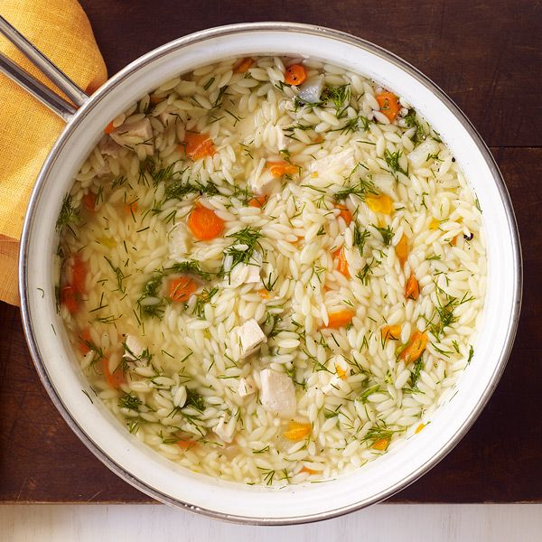 Chicken and Orzo Soup with Fennel Recipe Soups with reduced sodium chicken broth, table salt, black pepper, carrots, fennel bulb, orzo, boneless skinless chicken breasts, fresh lemon juice, dill