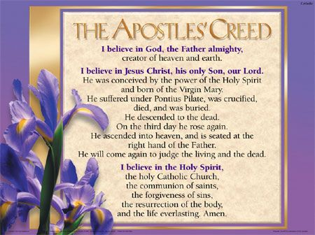"""the apostles creed The title """"apostles' creed"""" is also mentioned about 390 by ambrose, where he refers to """"the creed of the apostles which the church of rome keeps and guards in."""