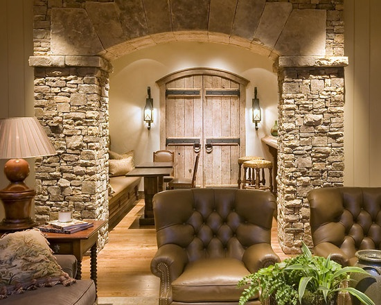 Finished Basement: Stone, primitive woods, leather - perfect pub area with bench style seating included