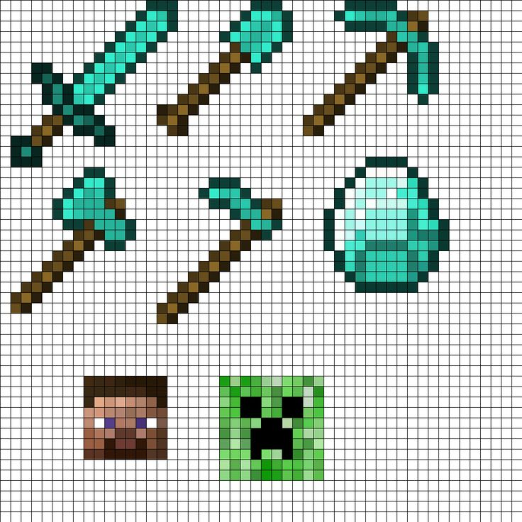 MineCraft Tool Set Perler Bead Pattern | Bead Sprites | Misc Fuse Bead Patterns