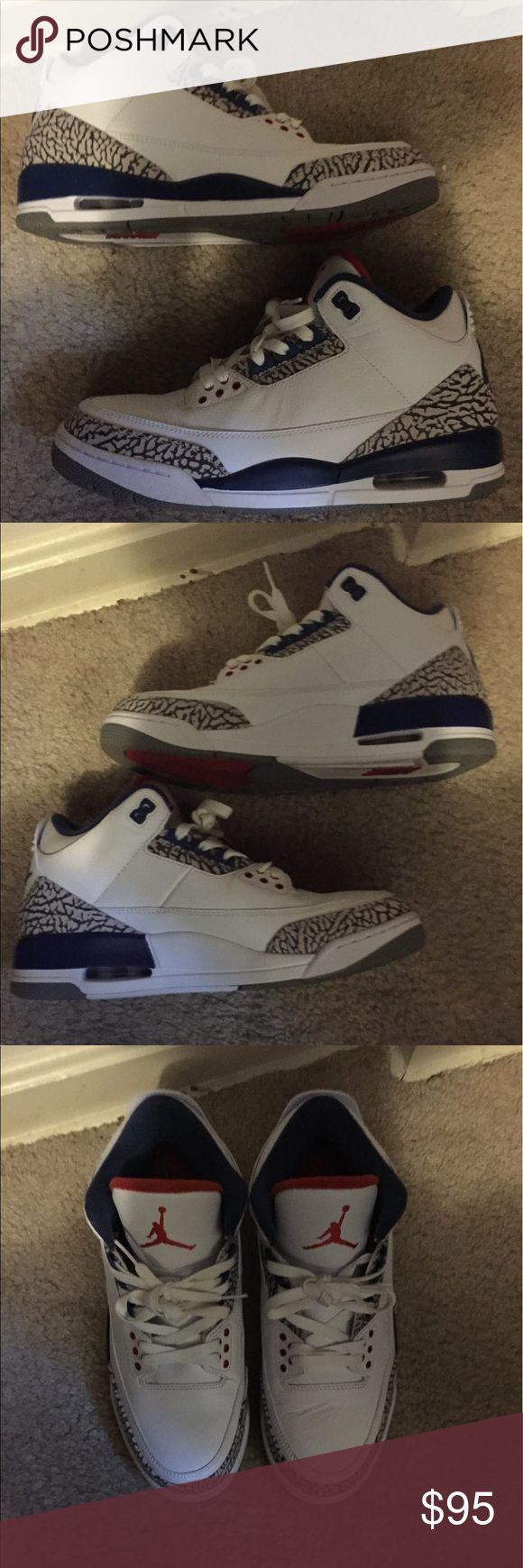 """Jordan 3 """"True Blue"""" Size 10, worn twice. Has no odor or scuffs. Comes with original box, receipt and hang tag. Please text 216-767-3113 of you are wanting to buy this shoe. Thanks -Mike Jordan Shoes Sneakers"""