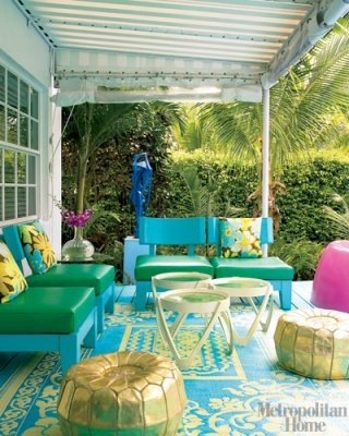 Turquoise PatioElle Decor, Outdoor Rugs, Outdoor Living, Colors Design, Colors Schemes, Outdoor Room, Patios Ideas, Outdoor Spaces, Bright Colors