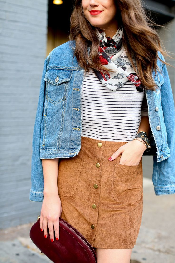 Classic meets Seventies–a suede skirt and denim jacket for fall!