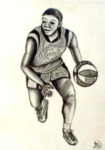 Kosárlabda - Emberek szénrajzok labdát pattintó fekete sportoló
