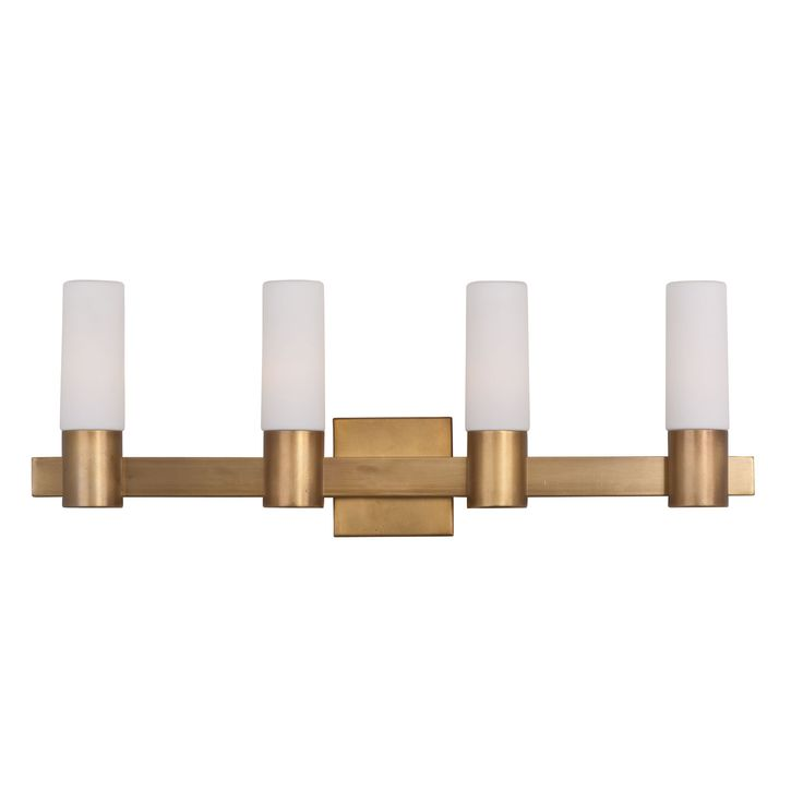 Maxim Lighting International Contessa Natural Aged Brass Four Light Bath  Vanity With Satin White Glass Shade