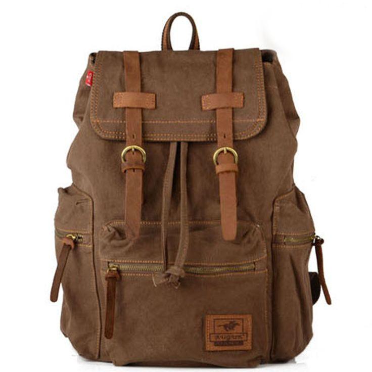 Vintage Women Men Canvas Backpack Leather Trim Bag Rucksack Shoulder HW09