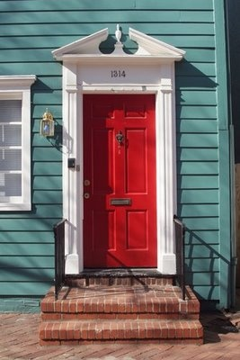 Red door green house white trim front door and curb - White house green trim ...