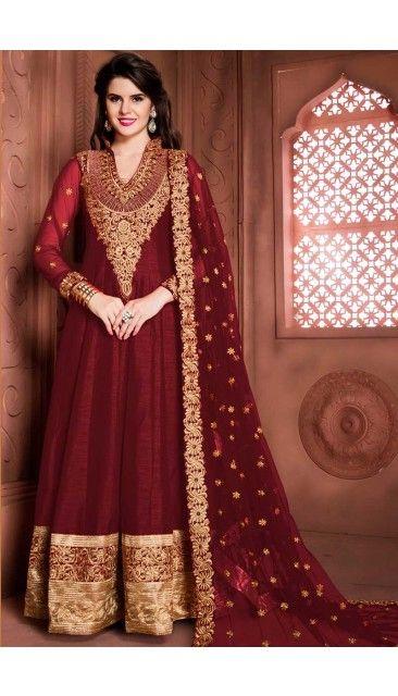 Maroon Banglori Silk Anarkali Churidar Suit With Dupatta - DMV14622
