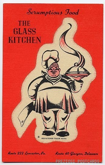 Linen postcard for the Glass Kitchen restaurant, Lancaster, PA: Kitchens Restaurant