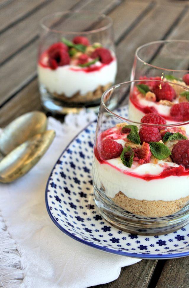 Cheesecake magro de framboesas