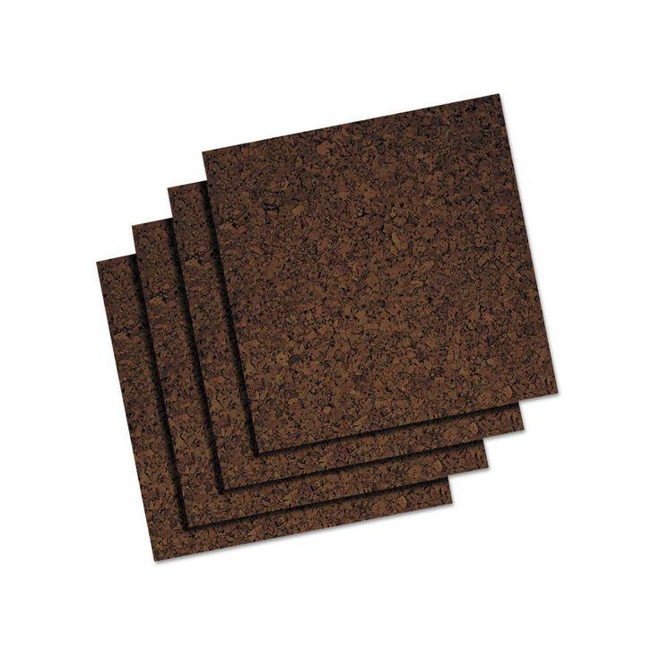 Quartet Cork Panel Bulletin Board, Brown, 12 x 12, 4 Panels/Pack, Wood