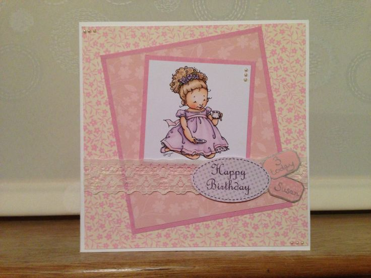 Girls birthday card with lace
