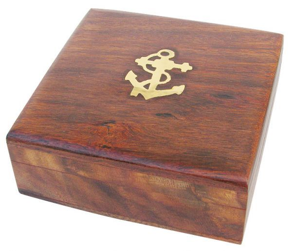 Maritime Holzbox 9x9x3,5cm