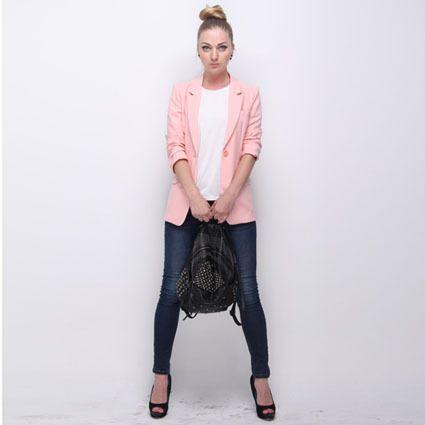 AFashion Women Suit Jacket Notched Lapel Slim Blazer Casacos Femininos Pink Women Blazers Jackets Spring Suit Jacket 241 WOW Visit our store