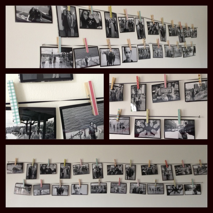 Super easy and super cute! Just used scrap booking paper and cut it the size of the clothes pins. Pictures printed black and white with black border from Walgreens.com. #clothespins #home #bedroom #pictures #decoration #interiors #DIY #craft
