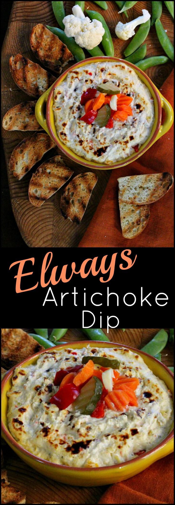 Elways Restaurant artichoke dip. Easy. Cream cheese and sour cream. Exciting with pickled vegetables. Perfect for a Football party crowd.