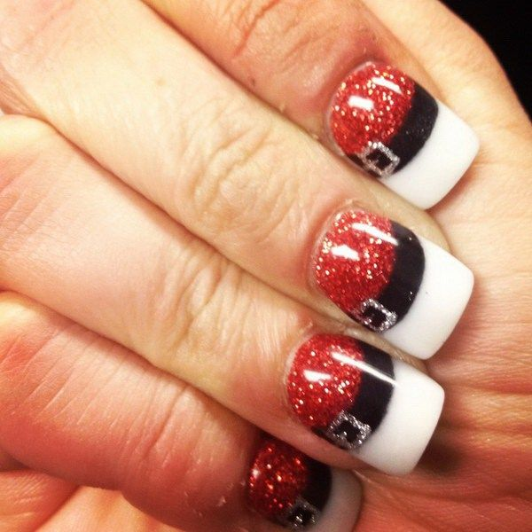 Christmas Snata Nail Art with Glittering.