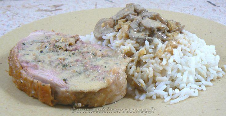 Cuisse de dinde farcie, sauce vin blanc et champignons | Une cuisine pour Voozenoo