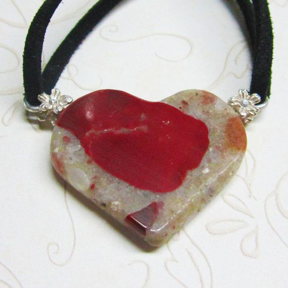 Heart Shaped Pendant of Drummond Island Michigan Pudding Stone by Grass Creek Farm