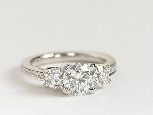 Three Stone Pavé Diamond #Engagement Ring in Platinum | #Wedding #Jewelry