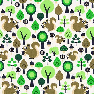 Cretonne Squirrels 2 - Bomuld - græsgrøn