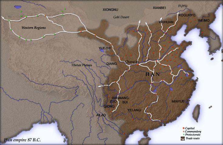 Han-dynastian alue Kiinassa 87 eaa.  Han-dynastia (漢 (汉) [hàn]) hallitsi Kiinaa 206 eaa. – 220 jaa. Han-dynastian aikoina Kiinassa vallitsi sisäinen rauha ja kukoistus, ja sotilaallisesti voimakas maa laajeni sotien avulla laajalle alueelle, lopulta Korean niemimaalle ja Vietnamin pohjoisosiin asti. Paperi ja posliini tulivat käyttöön. Kungfutselainen filosofia levisi valtion ideologiaksi.  https://fi.wikipedia.org/wiki/Han-dynastia