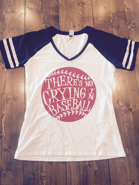 Theres No Crying in Baseball - District Ladies Game Day V-Neck Tee - Black Sleeves and White Body  This is a Ladies fit shirt. 4.5 oz., 60/40