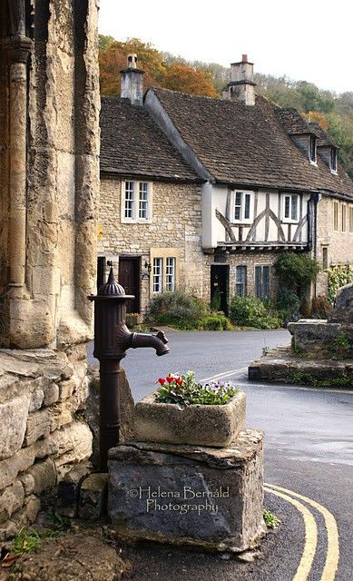 English fountain, country setting