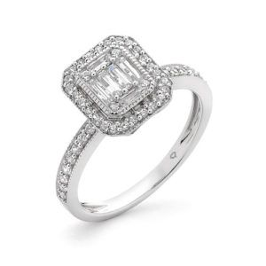 18ct Baguette Diamond Cluster Ring 0.50ct TDW