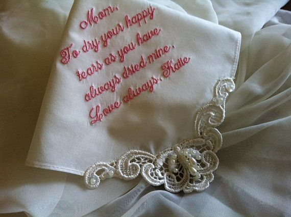personalized ivory bridal handkerchief hanky for your special wedding day by coutureweddinghankie