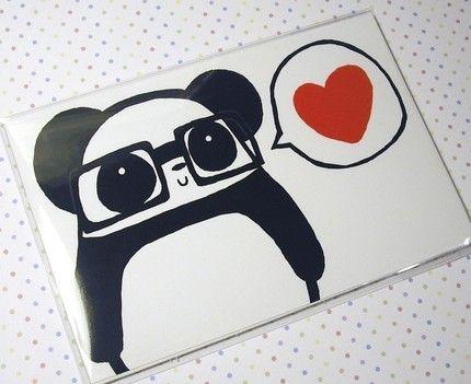 panda loooove / para el 14 de febrero: hipster panda love