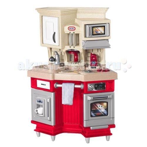 Little Tikes Кухня 484377/614873  Игрушечная кухня от Little Tikes 484377 - компактная, стильная и современная! Оснащена плитой с духовкой, раковиной, микроволновкой, кофейником, холодильником и многим другим. Духовка и варочная панель издают звуки при включении. Микроволновка, также, снабжена звуковыми и световыми эффектами. Вверху расположены объемные шкафчики для хранения посуды. Высоту кухни можно регулировать с помощью ножек из комплекта.  Работающая микроволновка, духовка и дверцы…