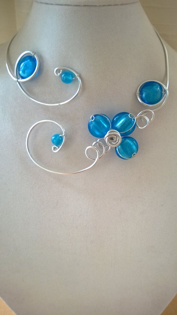 Blue necklace blue jewelry Wire wrapped necklace Statement