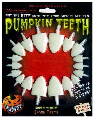 Amazon.com: Halloween Pumpkin Carving Kit - Pumpkin Teeth for your Jack O' Latern - Set of 18 Glow in the Dark Shark Teeth: Toys & Games