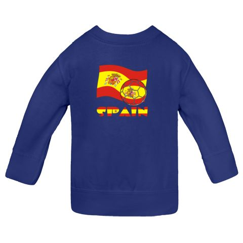 The Spanish flag flies in the background in red and yellow with its coat of arms. In the front, a soccer ball shows, also in the flag motif. Below it all, you find the word SPAIN  in the flag flag colors. The P has a tiny coast of arms. Shows here on this Infant Sweatshirts .<br /><br /> Fun for supporting or cheering on TEAM SPAIN during international soccer or futbol meets, matches and tournaments. $27.99 ink.universalflags.com