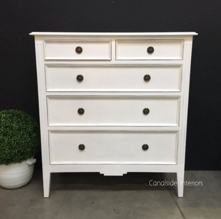 Peninsula 5 #Drawer Tall Chest - #Distressed White