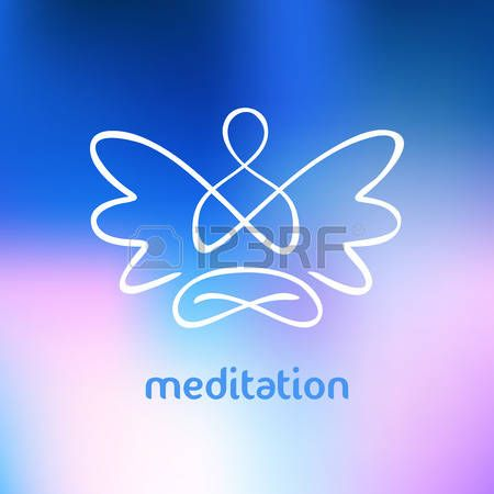 engel+tekening%3A+Vector+symbool+van+yoga%2C+meditatie%2C+spiritualiteit.+Engel.+Onscherpe+achtergrond+en+het+silhouet+van+een+man+met+vleugels.