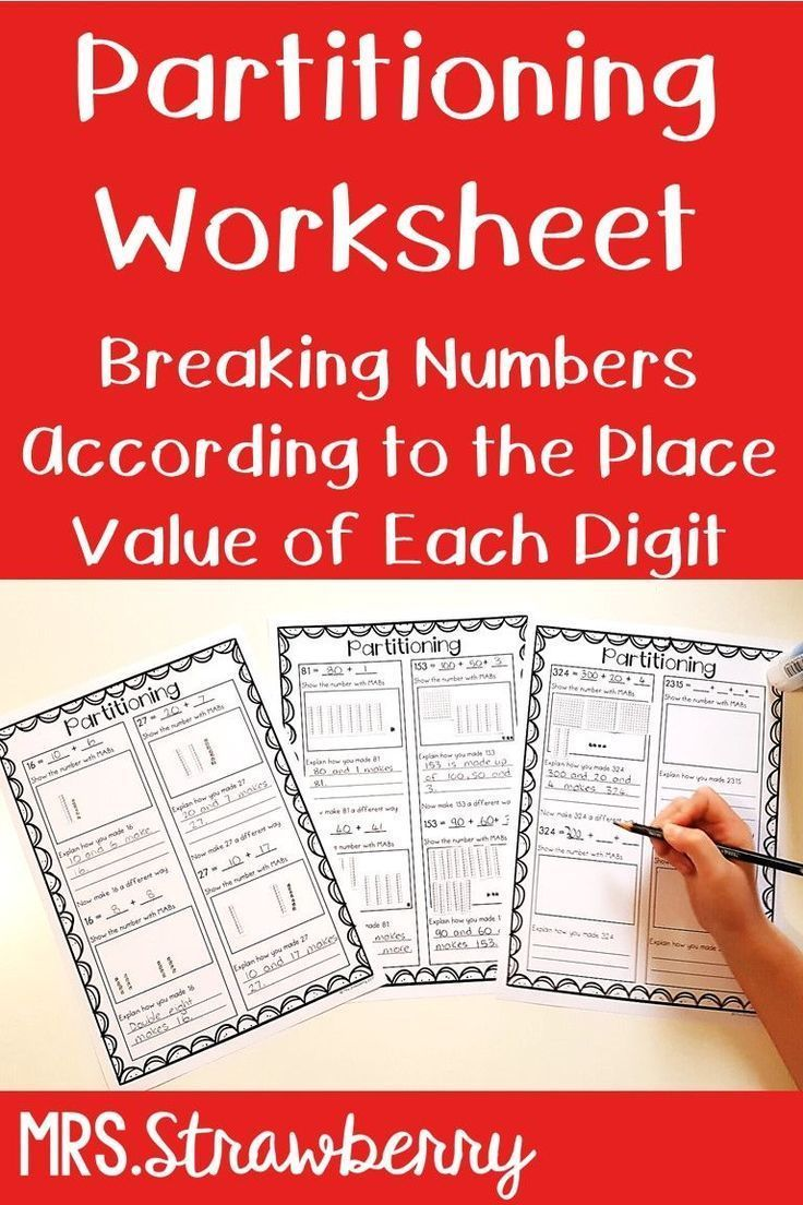 Place Value Partitioning Worksheets Math Addition Worksheets Place Values Place Value Worksheets