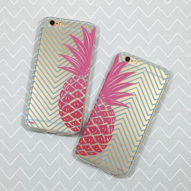 "Clear Plastic Case Cover for iPhone 6 (4.7"") Best Friends Pineapple"