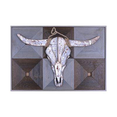 Hobbitholeco Bull Head on Wood I Framed Art