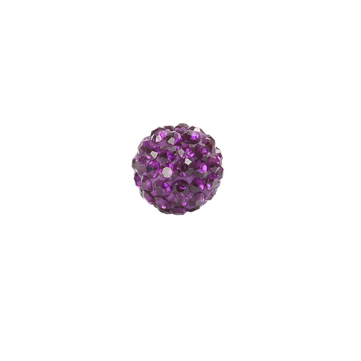 Dark Amethyst Crystal 10mm Shamballa Style Round Bead