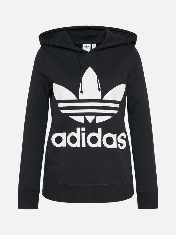 ADIDAS ORIGINALS Hoodie 'Trefoil' in schwarz weiß   Adidas