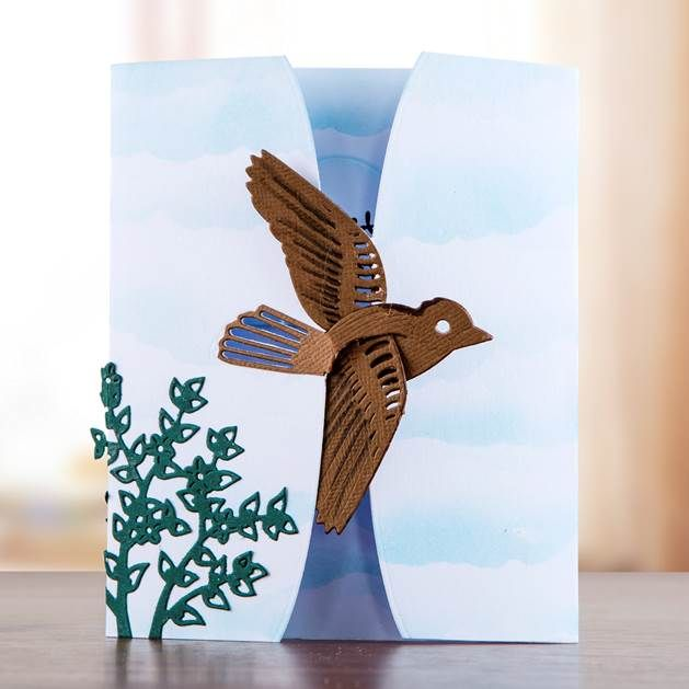 Fly away home. Gorgeous bird #card design from the Songbird Collection! Shop now: http://www.createandcraft.tv/papercraft/dies+and+storage/dies/couture+collection--songbird.aspx?icn=Songbird&ici=Couture_Songbird #papercraft #cardmaking