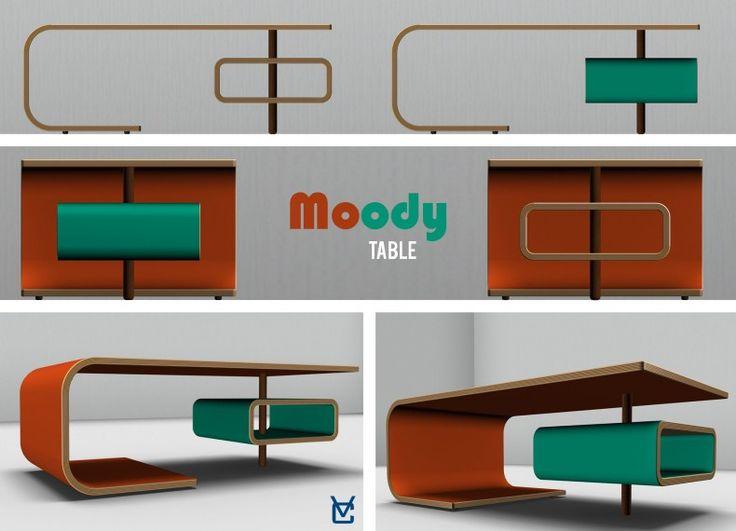 """Formabilio - Moody è un ampio tavolino da soggiorno con un modulo portaoggeti e un """"che di retrò"""". La forma ricorda la psichedelia degli anni '60, le finiture e i colori ricordano gli arredi degli anni '50, ma la forma è decisamente moderna. E' disponibile in varie finiture abbinate a colori a contrasto, a volte tenui, a volte molto decisi. L'insieme di queste caratteristiche ne fa un complemento d'arredo adatto a interni di stile differente. Moody cambia umore a seconda del tuo umore! Il…"""