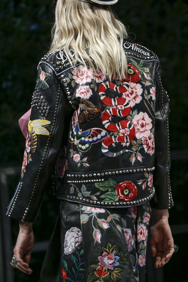 best 25 embroidered leather jacket ideas on pinterest floral leather jacket gucci leather. Black Bedroom Furniture Sets. Home Design Ideas