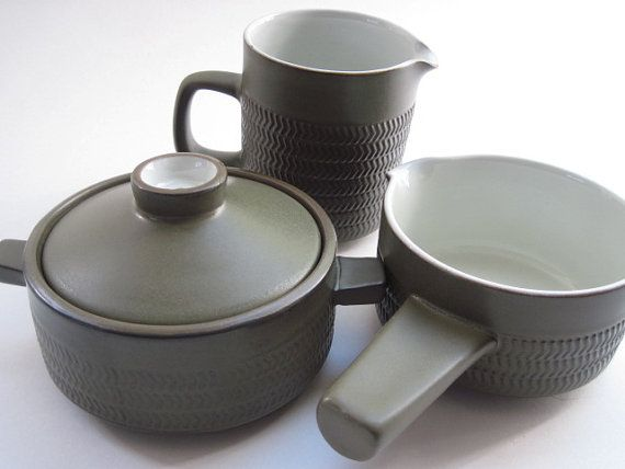 A vintage trio of pieces by Denby of England. This set included a covered soup bowl or casserole,( would also make a great sugar bowl) a