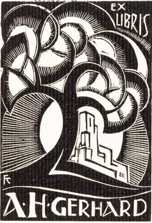 Bookplate by Fré Cohen, 1918, Ex Libris A. H. Gerhard.