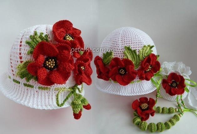 Sombrero de Panamá hermosa con las flores. Cómo hacer punto
