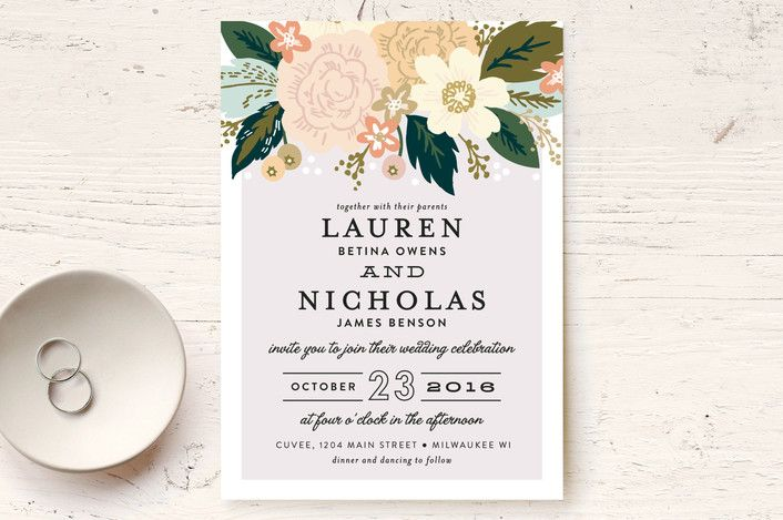 Classic Floral Wedding Invitations by Alethea and Ruth | Minted